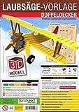 3D Laubsägevorlage Doppeldecker: Laubsägevorlage für einen Doppeldecker aus hochwertigem 3mm Pappelsperrholz.